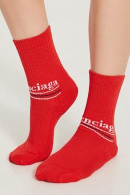 Красные носки с сине-белым логотипом Balenciaga 397106230