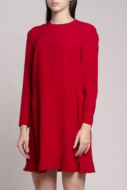 Короткое красное платье с оборкой Red Valentino 986120557