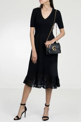 Черное платье с плиссированным подолом Roberto Cavalli 314143284
