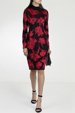 Платье с принтом и высоким воротником Roberto Cavalli 314143246