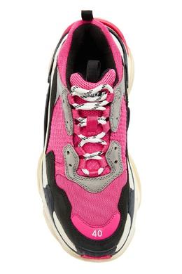Серо-черно-розовые кроссовки Triple S Balenciaga 397124799