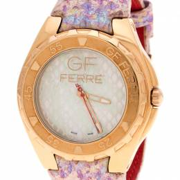 Gianfranco Ferre Mother of Pearl Gold-Plated Stainless Steel 9062J Women's Wristwatch 43 mm 150582
