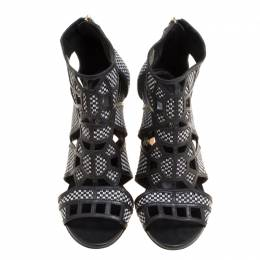 Sergio Rossi Monochrome Woven Raffia And Leather Cutout Sandals Size 36 150721