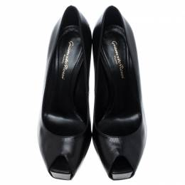 Gianvito Rossi Black Leather Peep Toe Platform Pumps Size 37.5 145686