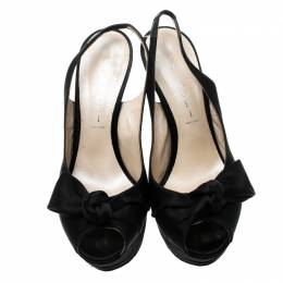 Casadei Black Satin Peep Toe Slingback Sandals Size 37 143733