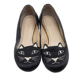 Charlotte Olympia Black Satin Kitty Ballet Flats Size 37.5 143888