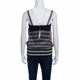 GF Ferre Multicolor Striped Lurex Knit Trim Sleeveless Bustier Top S Gianfranco Ferre 141236