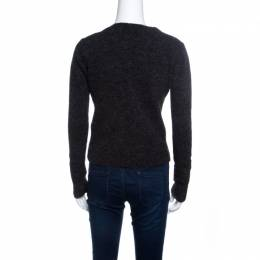 GF Ferre Grey Fuzzy Ribbed Trim V-Neck Embellished Sweater S Gianfranco Ferre 140919