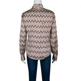 Just Cavalli Lipstick Printed Silk Satin Contrast Collar Shirt M 139811