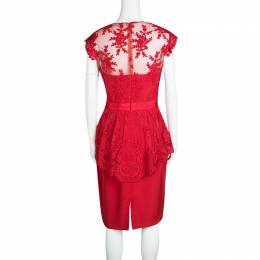 Marchesa Notte Scarlet Red Embroidered Lace Peplum Dress M 133472