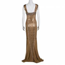 Gianfranco Ferre Dull Gold Embellished Sleeveless Evening Gown M 138138