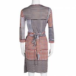 Diane Von Furstenberg Irreguar Striped Silk Jersey New Julian Two Wrap Dress M 133842