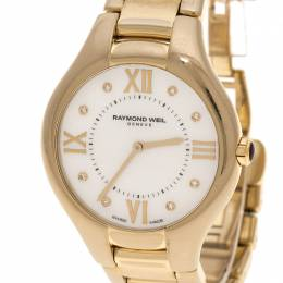 Raymond Weil White Mother of Pearl Gold Plated Stainless Steel Noemia 5136 Women's Wristwatch 36 mm 133206