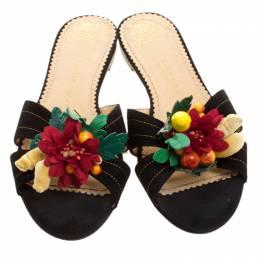 Charlotte Olympia Black Suede Flower Embellished Flat Sandals Size 39 135356