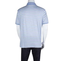 Loro Piana Blue and White Striped Polo T-Shirt L 131785
