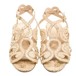 Charlotte Olympia Beige Python Embossed Leather Elisa Sandals Size 36 132059