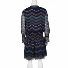 Diane Von Furstenberg Multicolor Printed Silk Smocked Detail Kelley Dress M 131046