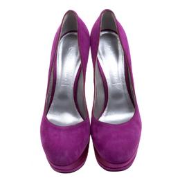 Casadei Purple Suede And Satin Triple Platform Pumps Size 41 115912