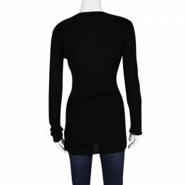 Just Cavalli Black Silk Jersey Rib Knit Long Sleeve Top L 121445