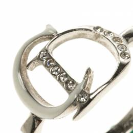 Dior Logo Crystal Enamel Silver Tone Ring Size 53 96487