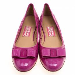 Salvatore Ferragamo Pink Varina Leather Laser Cut Out Ballet Flats Size 41 113485