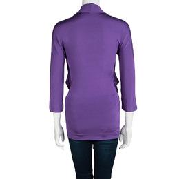 Just Cavalli Purple Front Drape Detail Long Sleeve Top M 99682