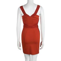 Versace Orange Sleeveless V-Neck Bodycon Dress S 92306