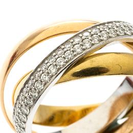 Cartier Trinity De Cartier Diamond & 18k Three Tone Gold Rolling Ring Size 48 158488