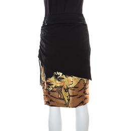 Roberto Cavalli Class Black Printed Ruched Detail Layered Midi Skirt M 161436