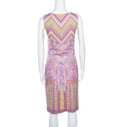 Roberto Cavalli Class Purple Printed V-Neck Sleeveless Dress M 161433