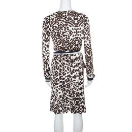 Roberto Cavalli Class White Leopard Printed Knit Long Sleeve Wrap Dress M 161460