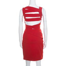 Preen by Thornton Bregazzi Ruby Red Asymmetric Bandage Detail Dew Bodycon Dress L 168651