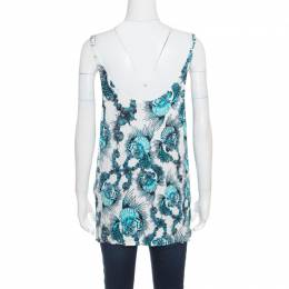 Just Cavalli White and Blue Shell Printed Cowl Neck Sleeveless Top L 170230