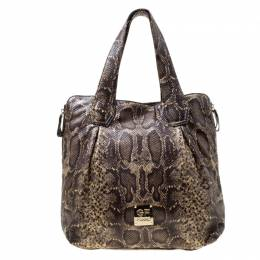 GF Ferre Black/Yellow Embossed Python Leather Tote Gianfranco Ferre 175685