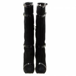 Casadei Black Suede Knee Length Boots Size 38.5 176377