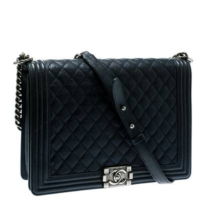 Chanel Navy Blue Quilted Leather Large Boy Flap Bag 181339 - 2