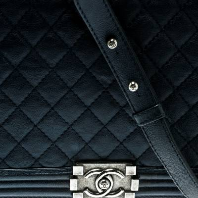 Chanel Navy Blue Quilted Leather Large Boy Flap Bag 181339 - 4
