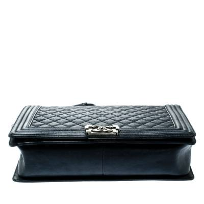 Chanel Navy Blue Quilted Leather Large Boy Flap Bag 181339 - 5
