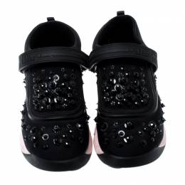 Dior Black Fabric And Mesh Neoprene Fusion Embellished Low-Top Sneakers Size 37 198279