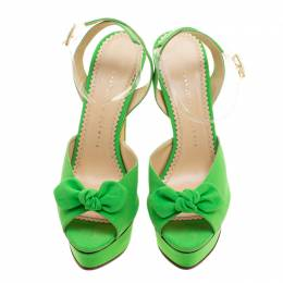 Charlotte Olympia Gren Satin Serena Bow Ankle Strap Platform Sandals Size 40 136133
