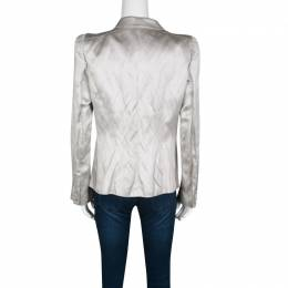 Gianfranco Ferre Grey Satin Tailored Blazer L 135832
