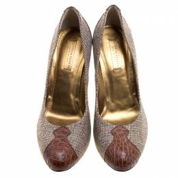 Bottega Veneta Beige Fabric and Croc Leather Almond Toe Pumps Size 38 120543