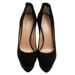 Charlotte Olympia Black Suede Eccentric Josephine Knot Detail Platform Pumps Size 41 130539
