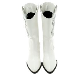 Giuseppe Zanotti Design White Snake Embellished Leather Guns 55 Cowboy Boots Size 37.5 95726