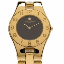 Baume et Mercier Black Gold-Plated Stainless Steel Linea Women's Wristwatch 30MM Baume&Mercier 70359