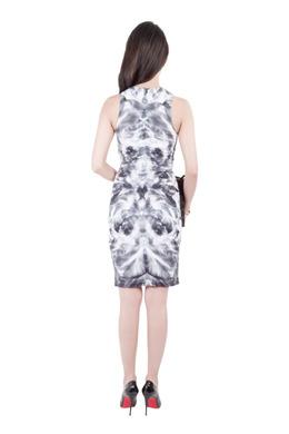 MCQ by Alexander McQueen Grey Mirrored Iris Print Jersey Sleeveless Bodycon Dress XS 201687