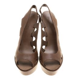 Bottega Veneta Brown Leather Peep Toe Platform Slingback Sandals Size 38.5 143514