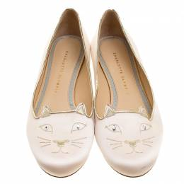 Charlotte Olympia Pale Pink Kitty Embroidered Satin Flats Size 40 136922