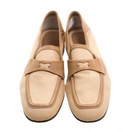 Bottega Veneta Beige Fabric and Leather Trim Loafers Size 39 112089