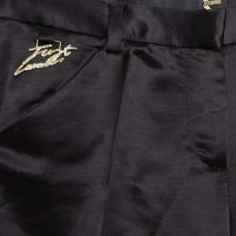 Just Cavalli Black Wool Logo Plaque Detail Straight Fit Trousers S 166892